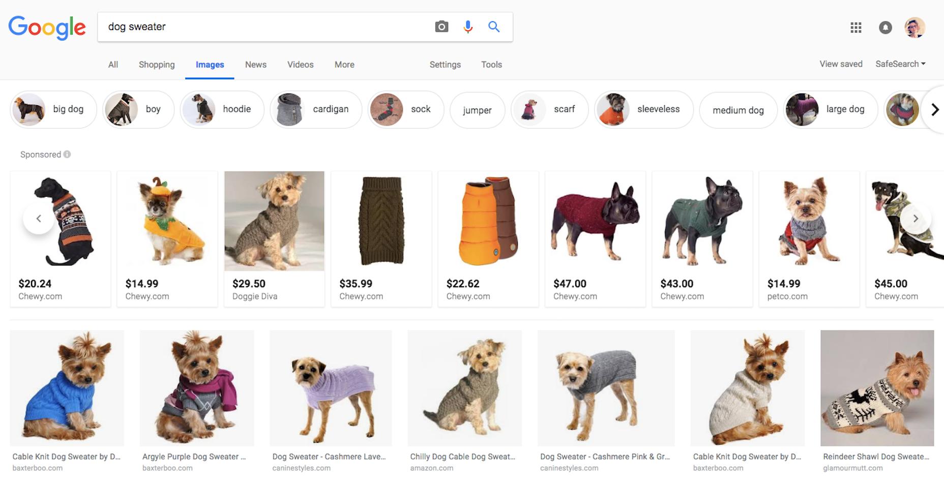 Resultados de búsqueda de productos