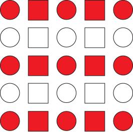 Hileras alternas de formas rojas y blancas