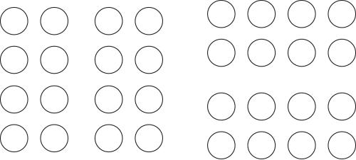Columnas y filas de círculos