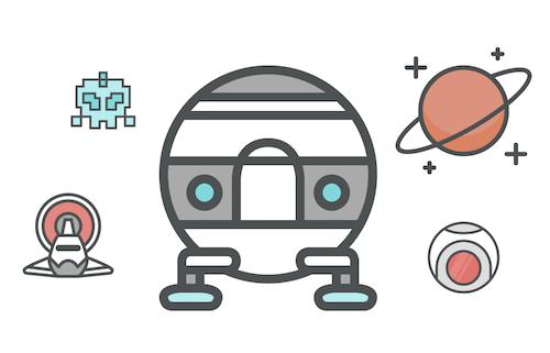Iconos espaciales con un toque divertido.