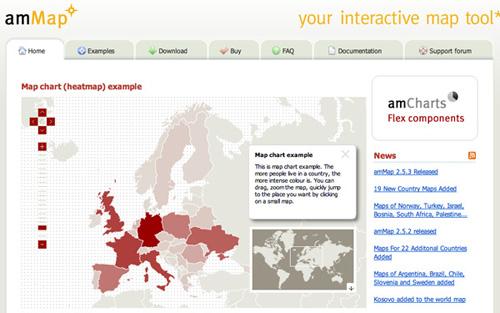 Captura de pantalla del sitio amMap