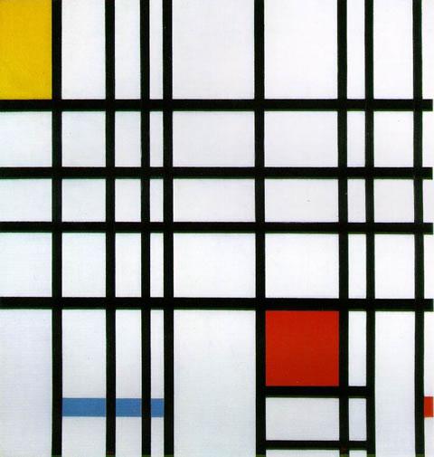 Composición con rojo, amarillo y azul