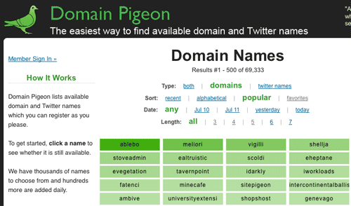 Captura de pantalla de la paloma del dominio