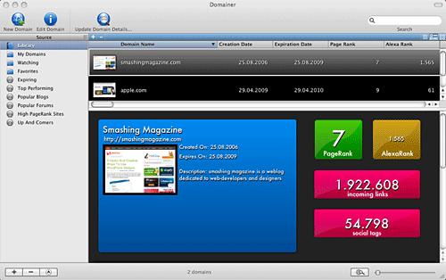 Captura de pantalla del software Domainer Mac