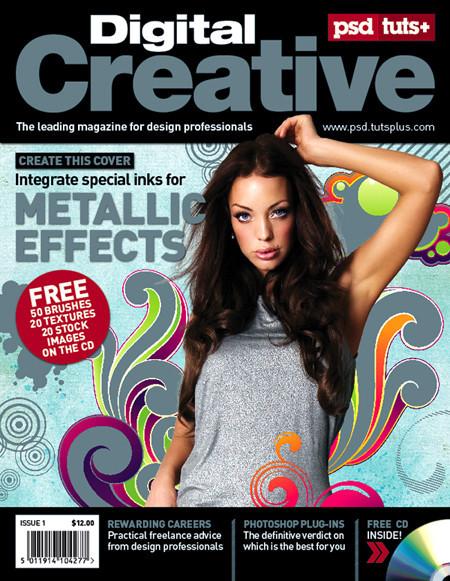 Portada de revista con Spot Metallic
