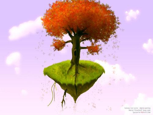 Pintar digitalmente una escena de árbol de fantasía