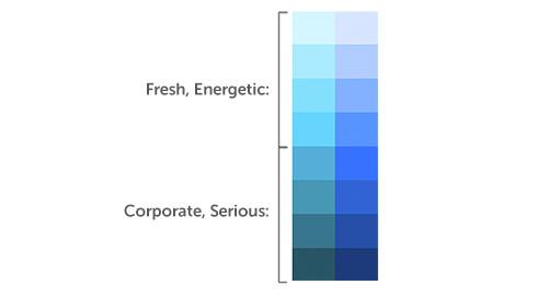 Blues más claros para una sensación enérgica, más oscuro para una sensación corporativa.