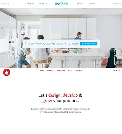 Los sitios web de TedTodd y ThoughtBox tienen paletas de colores muy simples