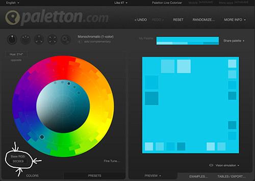 Captura de pantalla del color base de configuración de Paletton