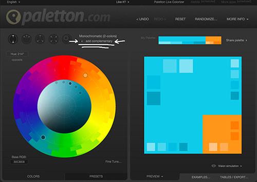 Captura de pantalla de color complementario en Paletton
