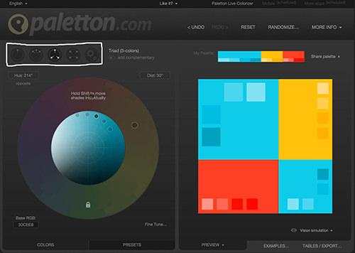 Captura de pantalla de esquemas de color en Paletton