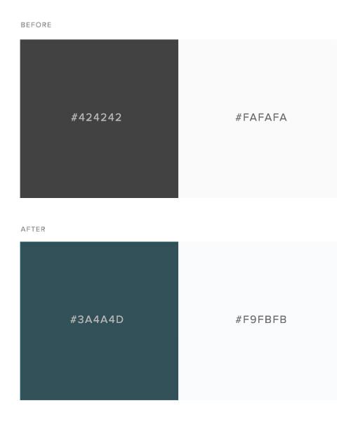 Antes y después de grises más armoniosos