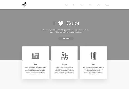 Imagen en escala de grises del diseño del sitio web
