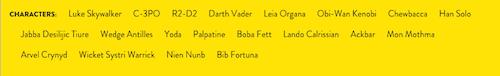 Nombres de personajes fijos