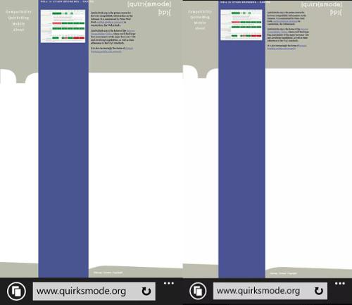 Nokia Lumia (izquierda), emulador de Windows Phone