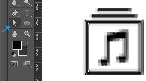 Cuando pegue el icono en Photoshop, probablemente verá esos píxeles grises alrededor de la forma.