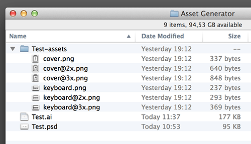 Generator guardará automáticamente los archivos PNG cuando guarde el documento de Photoshop.