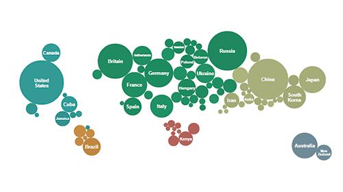 Ejemplo de mapa de burbujas.