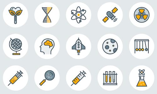 Iconos de línea de ciencia