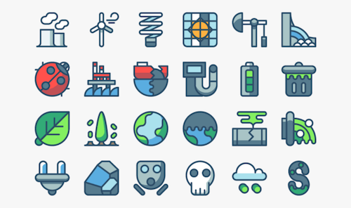 Iconos de contaminación y energía