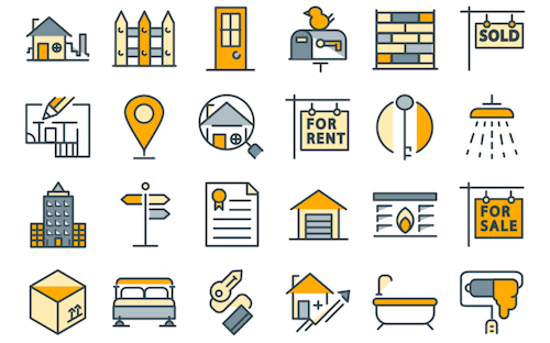 Iconos de electrodomésticos y bienes raíces