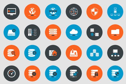 Iconos de soporte técnico y alojamiento web
