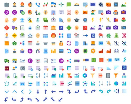 Más de 300 iconos de colores planos