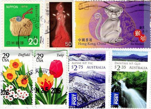 Una variedad de sellos de todo el mundo