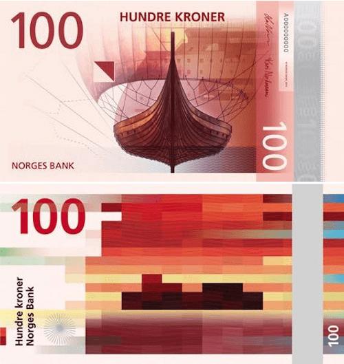 Billete noruego de 100 coronas delante y detrás