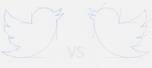 SVG optimizados y no optimizados del logotipo de Twitter