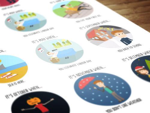 Conjunto de iconos de meses del año