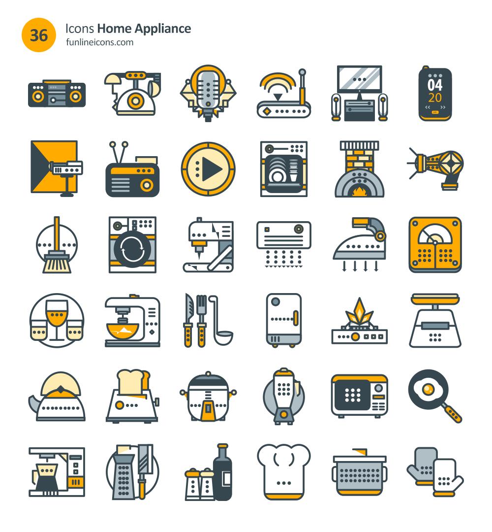 conjunto de iconos de electrodomésticos de bienes raíces