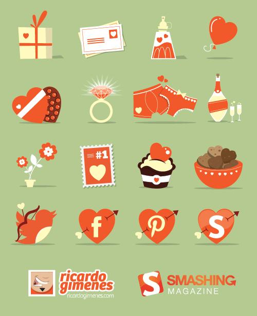 Freebie: Conjunto de iconos del día de San Valentín