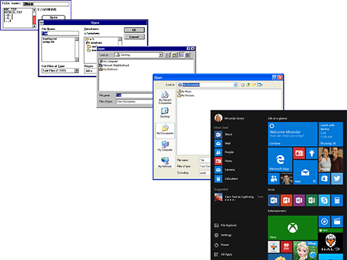 La evolución de la fuente de la interfaz de usuario del sistema de Windows es incluso más drástica que la de Mac OS X, desde las fuentes de mapa de bits monoespaciadas en Windows 1.0 en 1985 hasta la interfaz de usuario de Segoe de alta resolución en Windows 10.