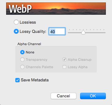 Complemento de Photoshop para WebP