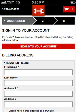 Sitio web móvil de Under Armour.