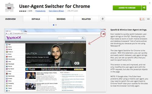 Pruebas móviles con User Agent Switcher para Chrome.