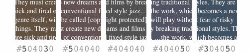 Ejemplos con ligeras variaciones de color de fondo
