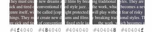 Ejemplos de variaciones muy leves en el color de fondo