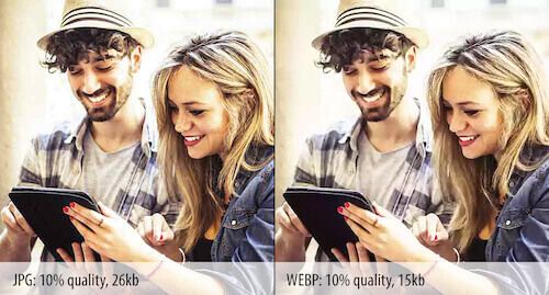 Diferencia de calidad entre JPEG y WebP