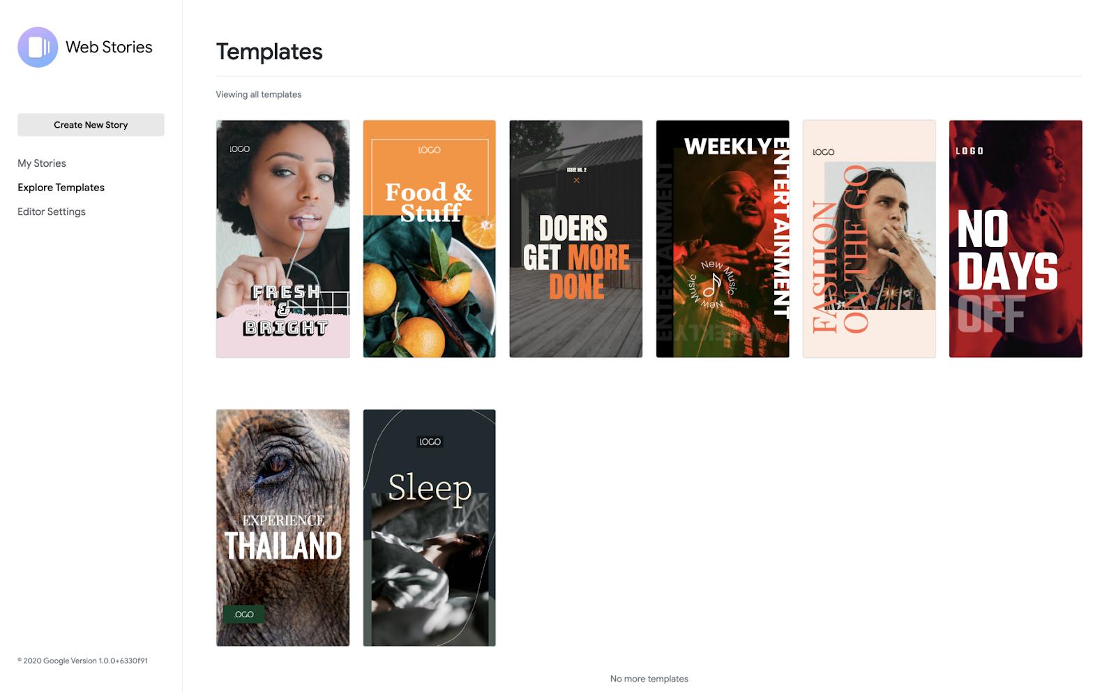 Biblioteca de plantillas de Google Web Stories